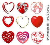 red hearts. set of hand drawn... | Shutterstock .eps vector #547172413