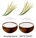 set of rice plants and bowls... | Shutterstock .eps vector #547172437
