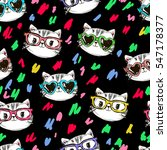 vector cat pattern  cat... | Shutterstock .eps vector #547178377