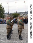 Small photo of BUDAPEST, HUNGARY - OCT 3 2016: Ceremonial guard at the Presidential Palace. The Danish Ambassador visiting the Hungarian Prime Minister. UNESCO World Heritage site.