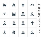 set of 16 simple religion icons.... | Shutterstock .eps vector #547195717