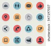 set of 16 simple internet icons.... | Shutterstock .eps vector #547197037
