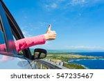 happy traveler. woman with... | Shutterstock . vector #547235467