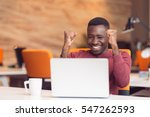 happy successful african... | Shutterstock . vector #547262593
