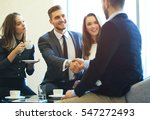 business people shaking hands ... | Shutterstock . vector #547272493