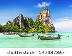 longtale boats at the beautiful ... | Shutterstock . vector #547387867
