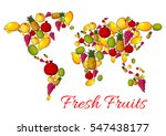 fruits combined in world map... | Shutterstock .eps vector #547438177