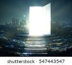 open door with bright light and ... | Shutterstock . vector #547443547
