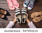 female shoes collection on... | Shutterstock . vector #547453213