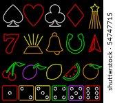 neon gambling symbols   raster | Shutterstock . vector #54747715