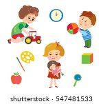 kids and toys cartoons set  ... | Shutterstock .eps vector #547481533