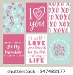 Vector Set Of Valentines Day...