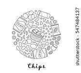 hand drawn outline chips... | Shutterstock .eps vector #547484137