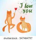 valentine love card with funny... | Shutterstock .eps vector #547484797