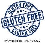 gluten free. stamp. blue round...
