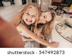 smiling little girl and woman... | Shutterstock . vector #547492873