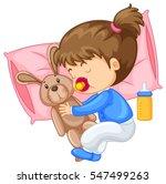 little girl hugging rabbit in... | Shutterstock .eps vector #547499263