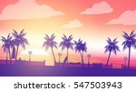 beach sunset walkway with man... | Shutterstock .eps vector #547503943