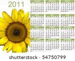 2011 Calendar With Sunflower