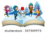 winter kids coming out of... | Shutterstock .eps vector #547509973