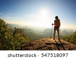 young traveler with backpack on ... | Shutterstock . vector #547518097