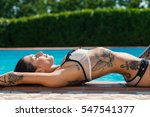 sexy tattooed woman portrait in ... | Shutterstock . vector #547541377