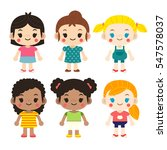 cute vector set girls in... | Shutterstock .eps vector #547578037