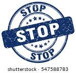 stop. stamp. blue round grunge...
