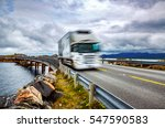 truck and highway at sunset.... | Shutterstock . vector #547590583
