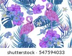 seamless vector floral exotic... | Shutterstock .eps vector #547594033