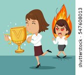 businesswoman holding a trophy... | Shutterstock .eps vector #547608013