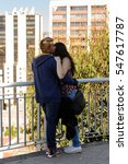 Small photo of VALPARAISO, CHILE - NOV 9, 2014: Unidentified Chilean couple in love in Valparaiso. Chilean people are of mixed Spanish and Amerindian descent