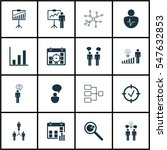 set of 16 executive icons.... | Shutterstock . vector #547632853