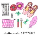 ballet set. pointe shoes ... | Shutterstock .eps vector #547679377