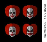 clown knitted flat icons set of ... | Shutterstock .eps vector #547710703