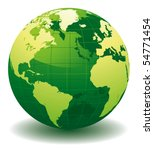 Green World Globe   Editable...