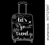 hand drawn suitcase with... | Shutterstock .eps vector #547727047