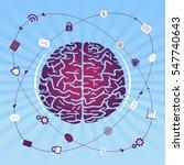 brain research   brain on blue...   Shutterstock .eps vector #547740643