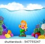 cartoon mermaid holding... | Shutterstock . vector #547755247