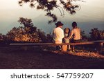 family sitting benches views. | Shutterstock . vector #547759207