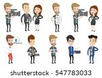 cheerful tv reporter with... | Shutterstock .eps vector #547783033