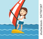 caucasian woman windsurfing in... | Shutterstock .eps vector #547787287