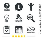 quiz icons. human brain think.... | Shutterstock .eps vector #547795483