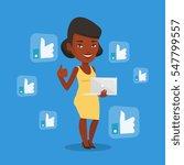 an african american woman...   Shutterstock .eps vector #547799557