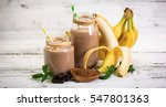 banana and chocolate smoothie... | Shutterstock . vector #547801363