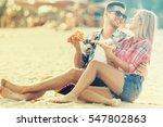 happy couple having fun on the... | Shutterstock . vector #547802863