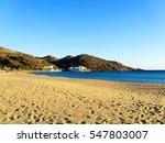 the sandy mylopotas beach in... | Shutterstock . vector #547803007