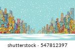 city panorama  winter snow... | Shutterstock .eps vector #547812397