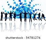 illustration of people jumping | Shutterstock .eps vector #54781276