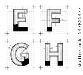 architectural sketches of e f g ... | Shutterstock .eps vector #547825477